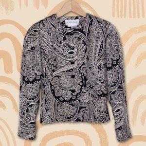 Vintage Carlisle Paisley Black 100% Silk Blazer
